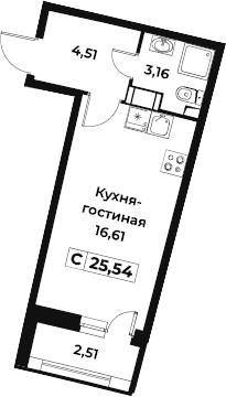 Студия, 25.54 м²