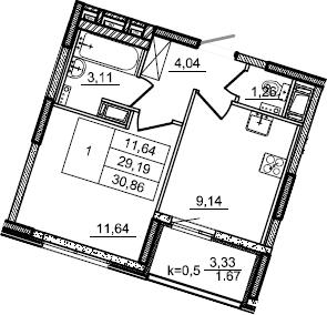 1-к.кв, 30.86 м², от 6 этажа