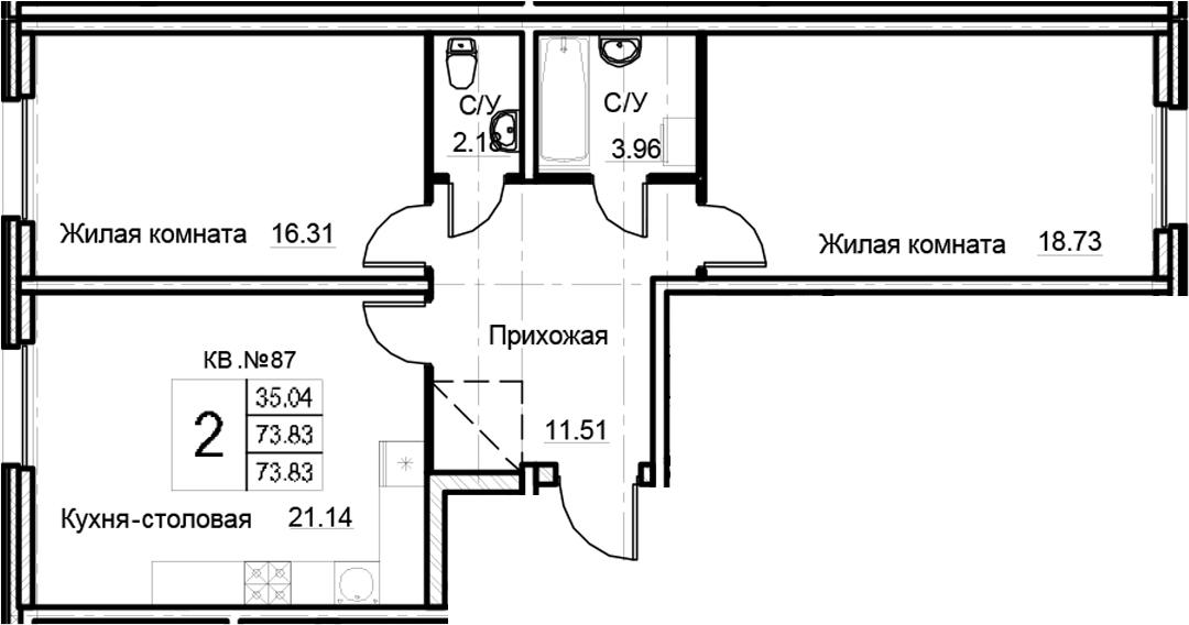 3Е-к.кв, 73.83 м²