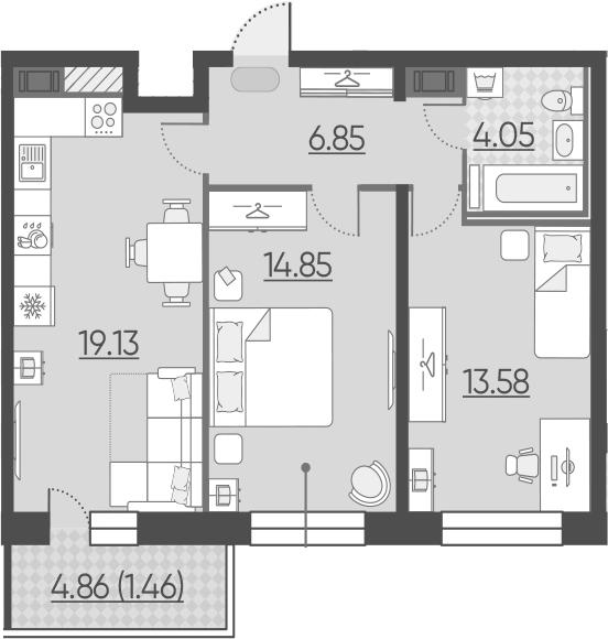 3Е-к.кв, 59.92 м²