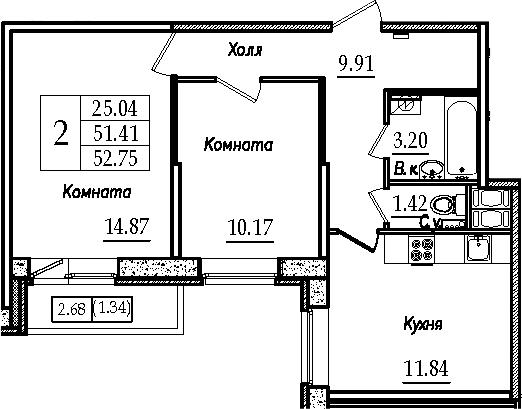 2-к.кв, 52.75 м²