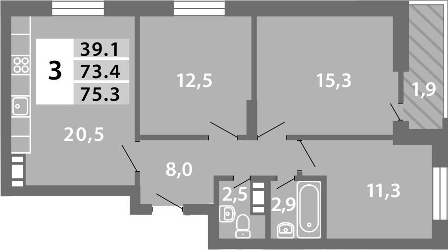 4Е-комнатная, 75.46 м²– 2