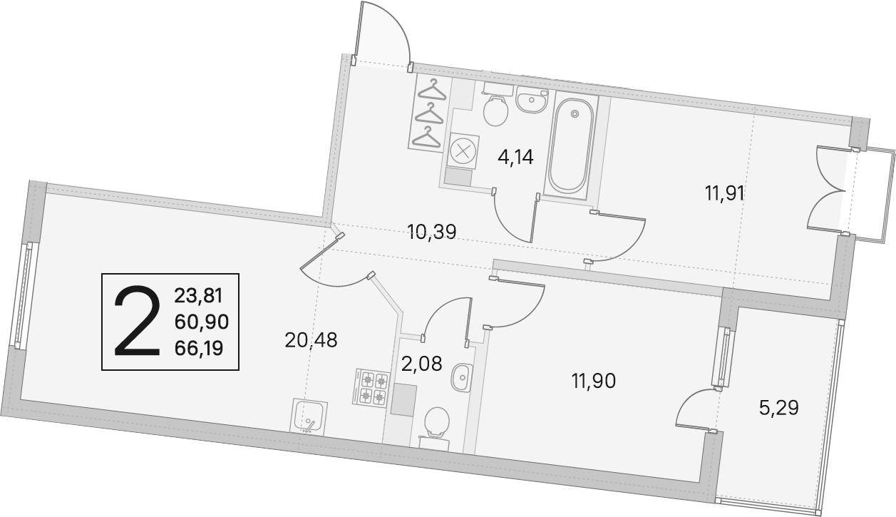 3Е-комнатная, 60.9 м²– 2