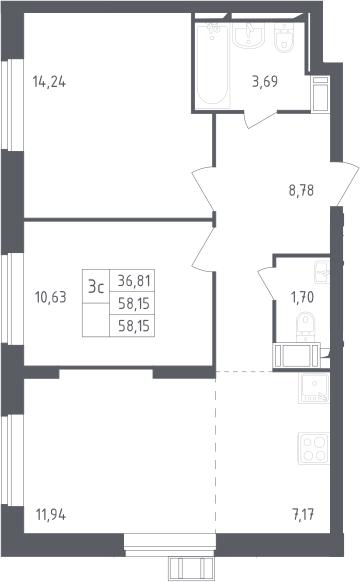 3Е-к.кв, 58.15 м², 17 этаж
