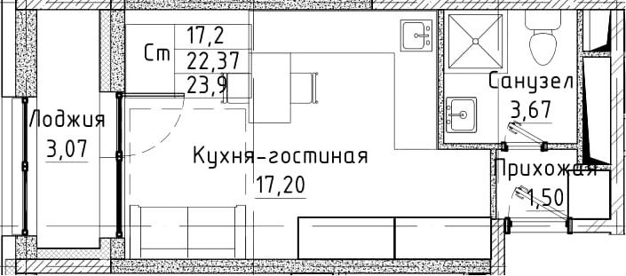 Студия, 23.9 м²– 2