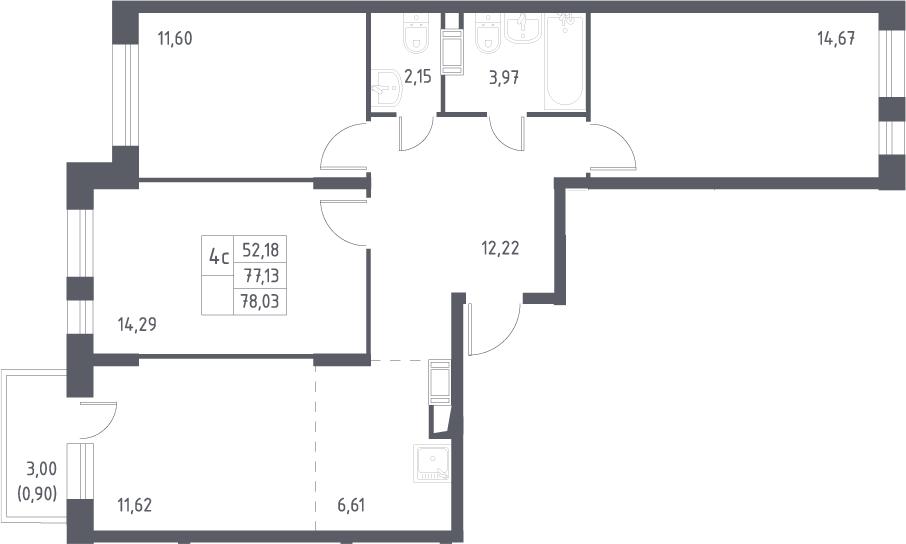 4Е-комнатная, 78.03 м²– 2