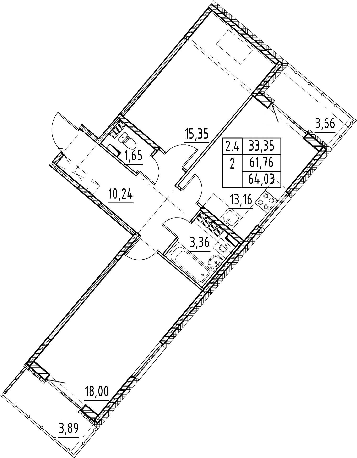 2-к.кв, 61.76 м²