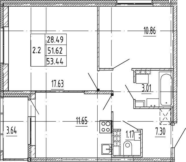 2-к.кв, 51.62 м²