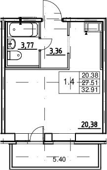 Студия, 27.51 м², 18 этаж