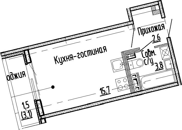 Студия, 22.1 м², 3 этаж