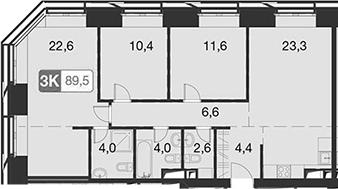 4Е-комнатная, 89.5 м²– 2