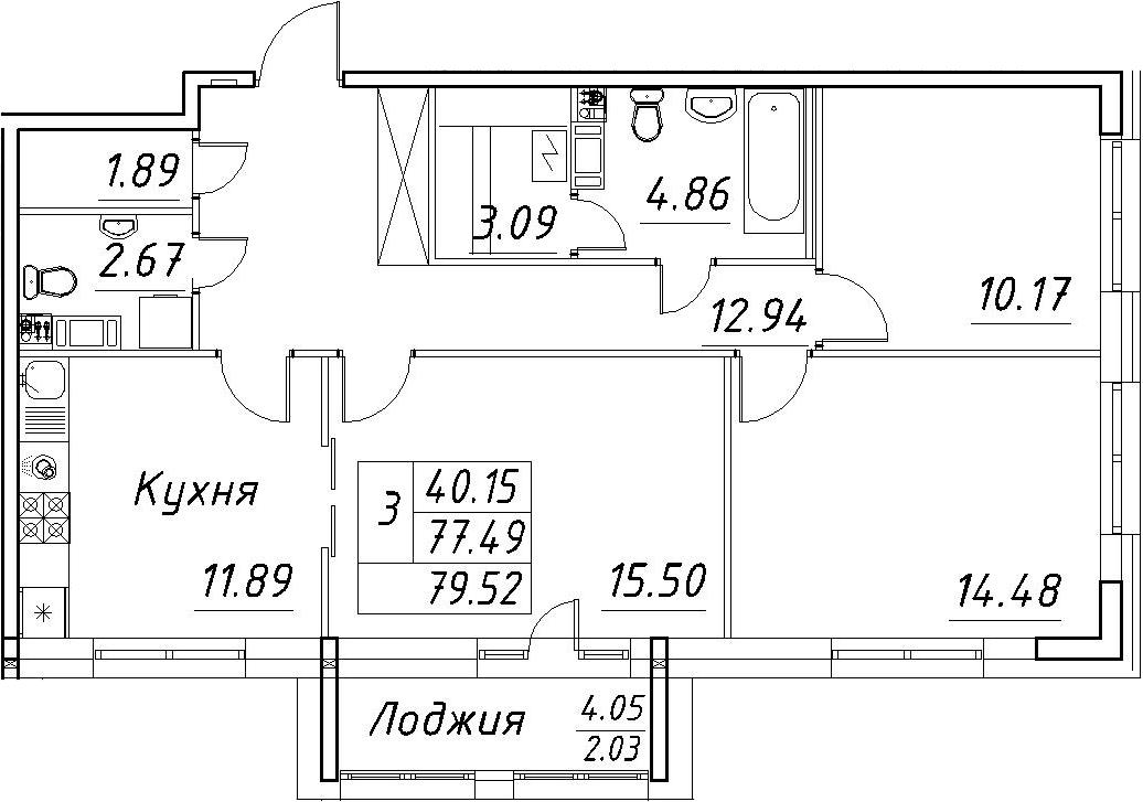 3-к.кв, 79.52 м²