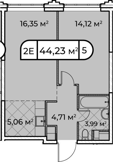 2Е-комнатная, 44.23 м²– 2