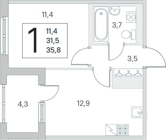 1-к.кв, 31.5 м², от 3 этажа