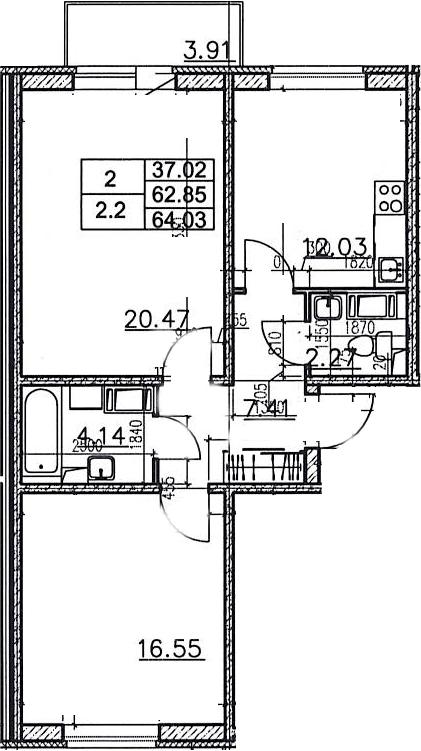 2-к.кв, 66.77 м²