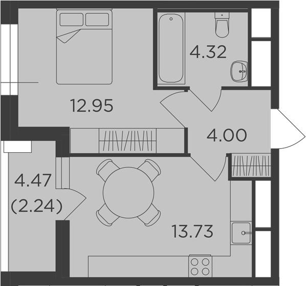 1-к.кв, 37.24 м²