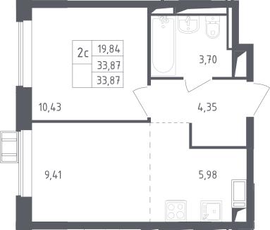2Е-к.кв, 33.87 м²
