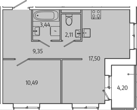 2-к.кв (евро), 47.09 м²
