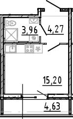 Студия, 23.43 м²– 2