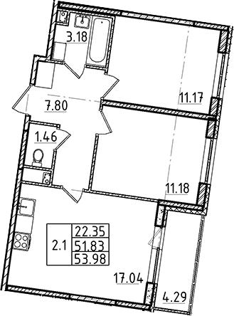 3Е-комнатная, 51.83 м²– 2