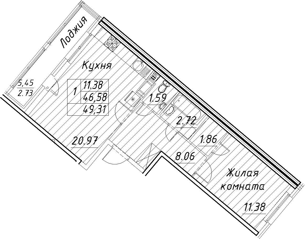 2-к.кв (евро), 52.04 м²