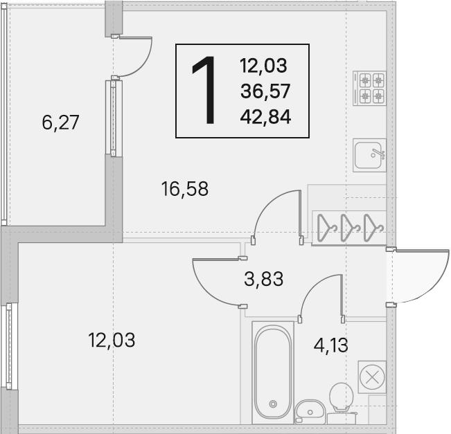 2Е-комнатная, 36.57 м²– 2