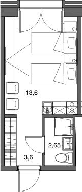 Студия, 19.85 м²