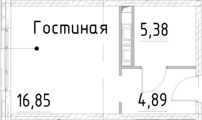 Студия, 27.12 м²
