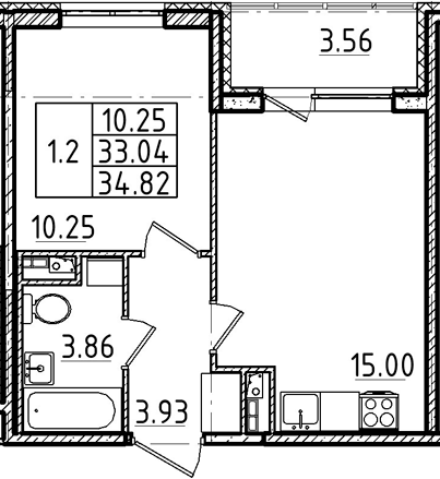2Е-комнатная, 33.04 м²– 2
