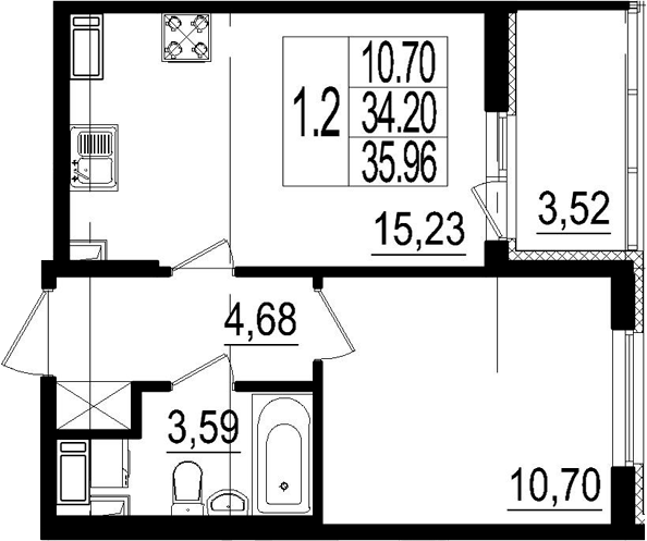 2Е-комнатная, 35.96 м²– 2