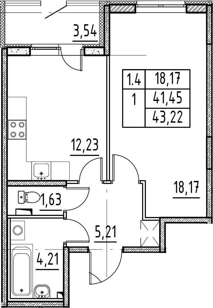 1-к.кв, 44.99 м²
