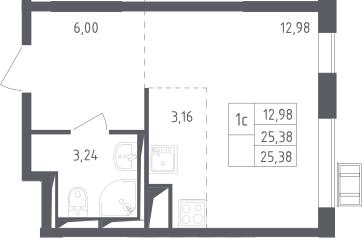 Студия, 25.38 м²– 2