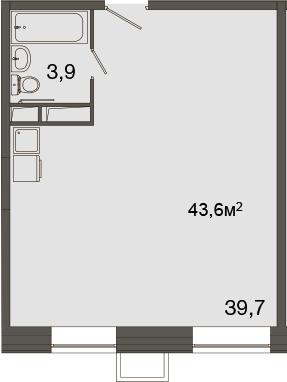 Свободная планировка, 43.6 м²– 2