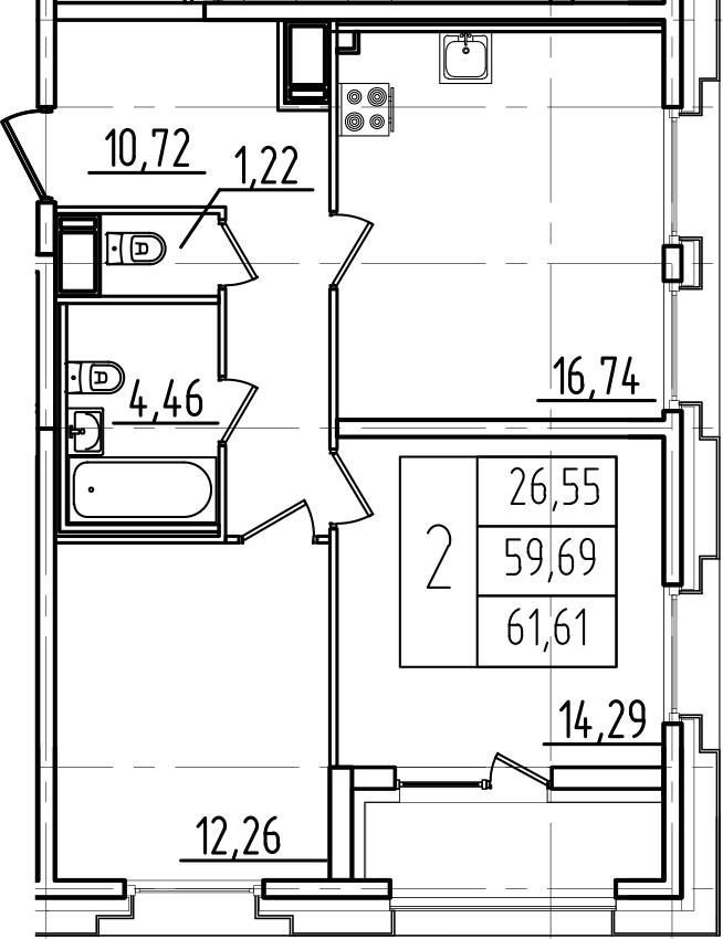 3-к.кв (евро), 63.53 м²