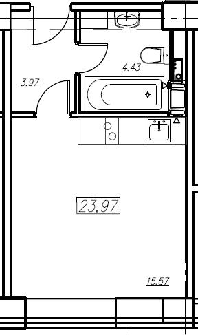 Студия, 23.97 м²
