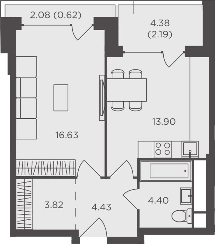 1-к.кв, 45.99 м², 7 этаж