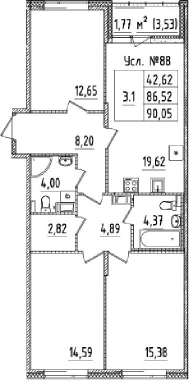 4Е-к.кв, 86.52 м², 2 этаж