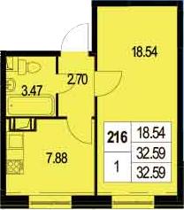 1-к.кв, 32.59 м²