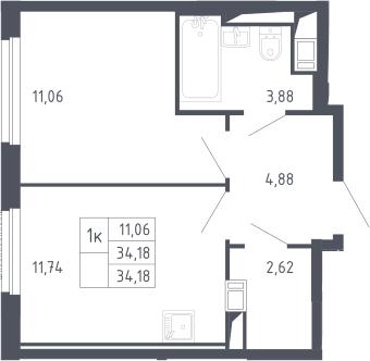 1-комнатная, 34.18 м²– 2