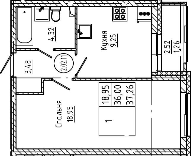 1-комнатная, 37.26 м²– 2