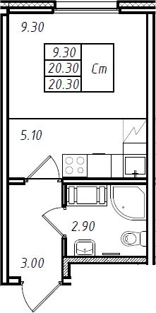 Студия, 20.3 м², 14 этаж