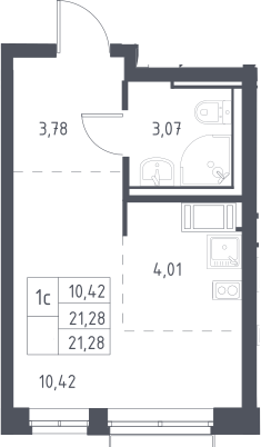 Студия, 21.28 м²– 2
