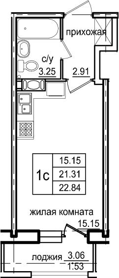 Студия, 22.84 м², 6 этаж