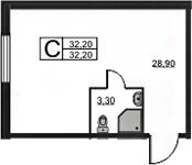 Студия, 32.2 м², 3 этаж – Планировка