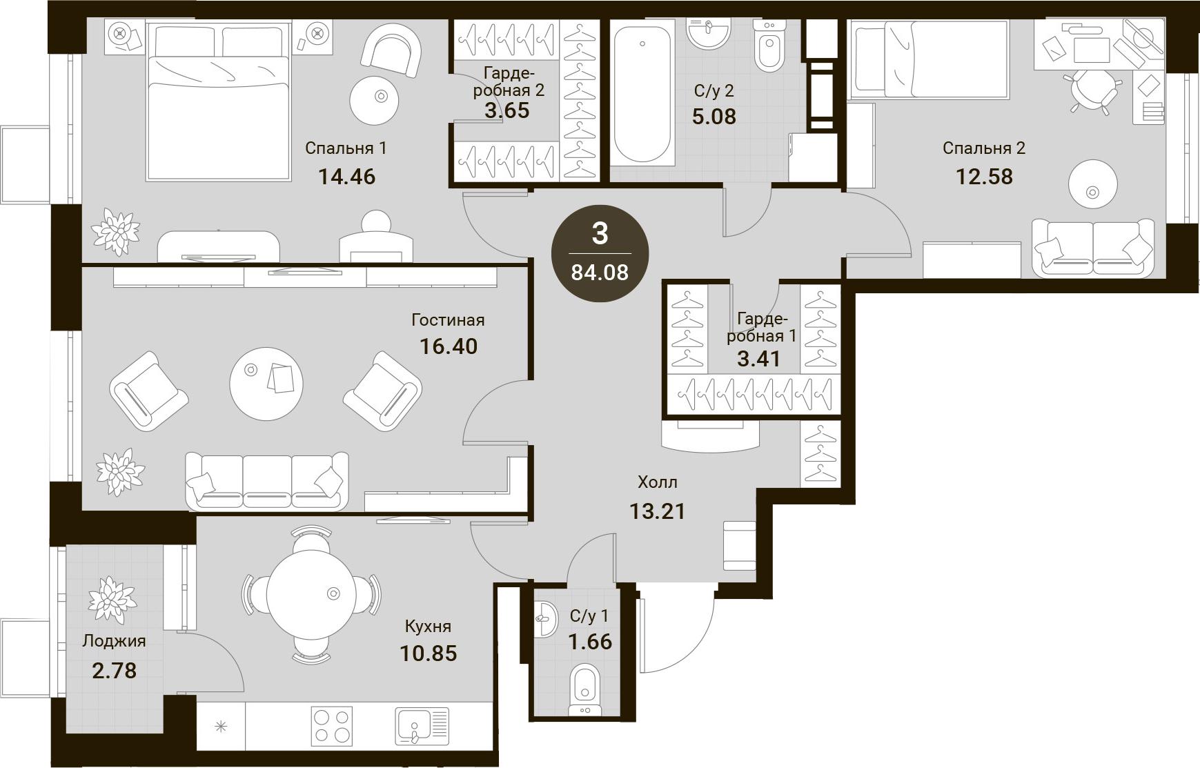 3-к.кв, 84.08 м²