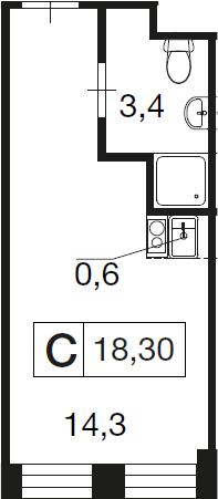 Студия, 18.3 м²– 2