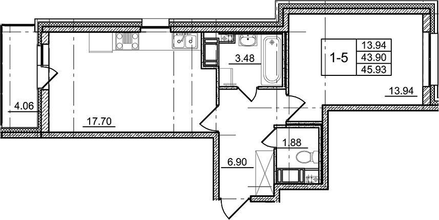 2-к.кв (евро), 47.96 м²