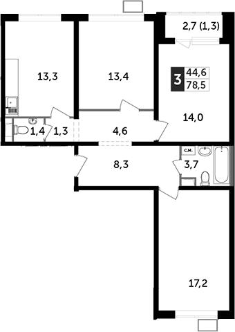 3-комнатная, 78.5 м²– 2