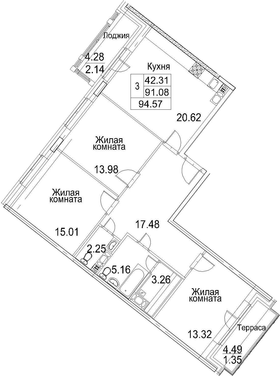 4-к.кв (евро), 99.86 м²