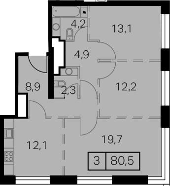 3-к.кв, 80.5 м²